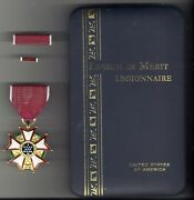 Legion Of Merit Award Medal With Ribbon Bar And Lapel Pin In Named Case Lom