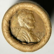 1911-s Vf Wheat / Bu Wheat End Lincoln Wheat Cent Roll Vintage Estate