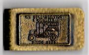 Eat Tom's Roasted Peanuts Brass Money Clip Vintage Rare Advertising Sign Clean