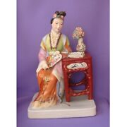 Chinese Vintage Porcelain Jingdezhen Statue China Figurine Lady With Flowers
