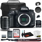 Canon Eos 7d Mark Ii Dslr Camera With 18-135mm F/3.5-5.6 Is Usm Lens And W-e1