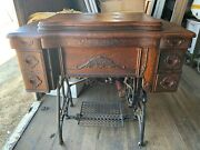 White Family Rotary Sewing Machine Antique C1880-1883 In Tiger Oak Cabinet Work