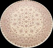 Traditional Wool/ Silk Floral Oriental Area Rug Hand-knotted Carpet 9and039x9and039 Round