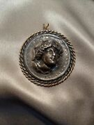 Vintage 1884 Liberty One Dollar Pop Out Coin Pendant Sterling/14k