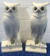 Vintage Edward Marshall Boehm White Wise Owl Bookends 9.5 T Figurines Usa
