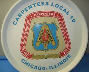 Vintage Carpenters Joiners Local 10 Chicago Union Tray Logo Rare Barware