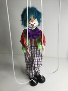 Vintage String Marionette Puppet Doll Rare Bright Color Clown 16 Inches