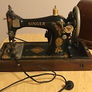 Antique Singer Sewing Machine In Bentwood Case Without Key