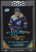 Oliver Wahlstrom 2019-20 Upper Deck Clear Cut Black Amber Rookie Auto