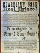 Guardian's Sale Of Real Estate / Signed 1866