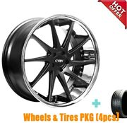 4rims 20 Staggered Azad Az23 Black With Chrome Wheels And Tires S33