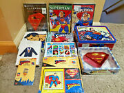 Superman Collectible Lot Lunch Box Movies Ornaments Card Comic Stamps Puzzle Pin