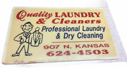 Vintage Plastic Advertising Sign Liberal Kansas Quality Laundry And Cleaners Ks
