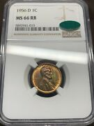 1956-d Lincoln Cent Ngc Ms66rb Cac. Rainbow Toning Rare With Cac