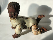 Vintage Metal Crawling Baby Doll Battery Robot Creepy Halloween Rubber Haunted