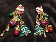 Statement Vtg Lunch At The Ritz Deck The Halls Christmas Tree Crystal Earrings
