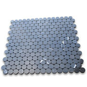 N93xp Nero Marquina Black Marble 3/4 Inch Penny Round Mosaic Tile Polished