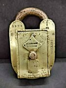 Old Antique Original Bop Excise Hobbs And Co. Solid Brass Padlock With Key London