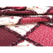 Beautiful Chic Cottage Shabby Pink Red Burgundy Ruffle Patchwork Rose Quilt Set