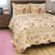 New Cozy Cottage Chic Shabby Ivory Pink Red Green Yellow Rose Leaf Quilt Set