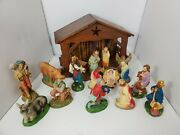 Vintage 15 Piece Nativity Set Hand Painted Italy With Bag Chalkware Christmas