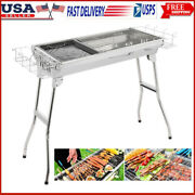 Stainless Steel Folding Portable Charcoal Barbecue Bbq Grill Upgraded Usa