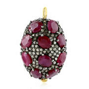 Ruby And Pave Diamond 925 Sterling Silver Bead Spacer Finding For Making Jewelry