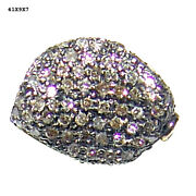 Handmade 0.52ct Pave Diamond Sterling Silver Spacer Finding For Making Jewelry