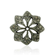 5 Pcs Lot 925 Sterling Silver 0.22ct Diamond Floral Charm Spacer Finding Jewelry
