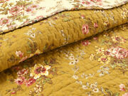 New Cozy Shabby Chic Cottage Pink Red Green Leaf Brown Yellow Rose Quilt Set