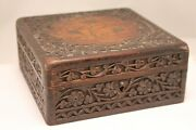Anglo-indian Hand Carved Wooden Brass Leaf Inlay Jewelry Trinket Lock Box Hinged