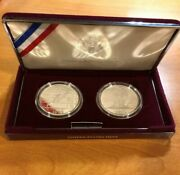 1995-p Olympic Track Runner And Cycling - Two-coin Silver 1 Proof W/box And Coa