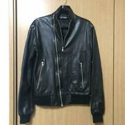 Raf Simons Leather Jacket Early Model Color Black Menand039s Size 46 Navy Blue Tag