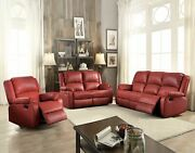 Sofa Love Seat And Recliner Red Pu Color Living/ Home Furniture Set Modern Design
