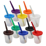 5x Spill Proof Paint Cups And Paint Brushes Kids Drawing Tool Art Supplies