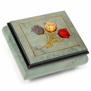 Tulip Hand Crafted Soft Green 4 Inches Italian Inlaid Wood Jewelry Music Box