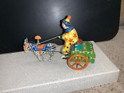 Vintage Tin Toy Litho Circus Clown And Buggy Wind Up Horse Cart Russian Lehmann