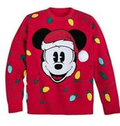 Disney Santa Mickey Holiday Cheer Christmas Red Sweater Plus Sixe 4xl New