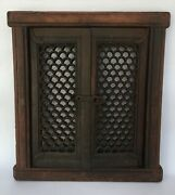 18th C Antique Wood Hand Carved Original Rare Window Door With Hand Carving Rear