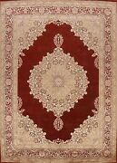 Vegetable Dye Floral Oriental Area Rug Hand-knotted Wool 9x11 Traditional Carpet