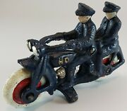 Harley-davidson Cast Iron Two Policemen Motorcycle Toy Vintage
