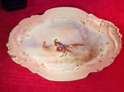 Antique Hand Painted Signed French Limoges Game Bird Platter C.1894-1906