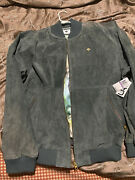 Lifted Research Group Green Suede Leather Bomber Jacket Mens 2xl Xxl Bird 225