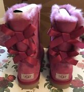 Ugg Australia Bailey Bow Boots Dusty Rose Womenandrsquos Size 7andnbsp