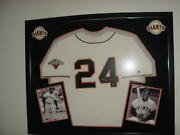 Willie Mays Signed Auto Giants Baseball Jersey Framed Huge W Photos Sey Hay Holo