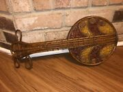 Vintage Handmade Hand Blown Stained Glass Wood Wall Decor Musical Guitar Banjo
