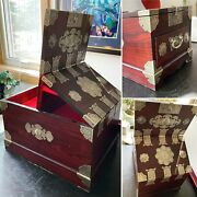 Large Antique Chinese Adorned W Silver Hinged Wooden Travel Storage/jewelry Box