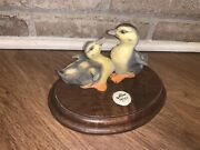 W. H. Turner Rare Ducklings Porcelain Ducks With Wooden Base, Signed 14/750