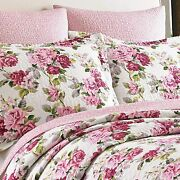 New Cozy Cottage Chic Shabby Pink Red Purple White Green Rose Leaf Quilt Set