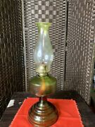 Vintage Oil Lamp Depression Glass Jade Green With Green Top Hurricane